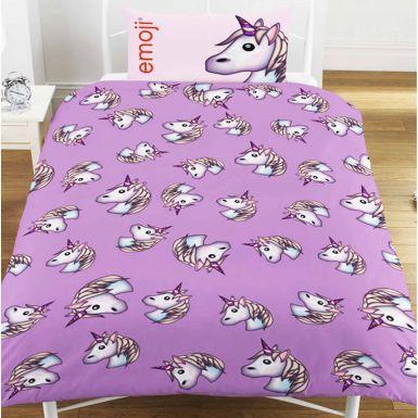 Reversible Emoji Unicorn Single Duvet Cover Set