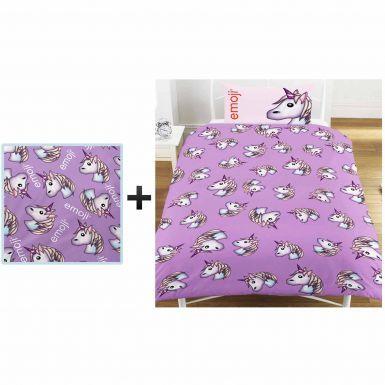 Emoji Unicorn Single Duvet Cover & Blanket Bedroom Gift Set