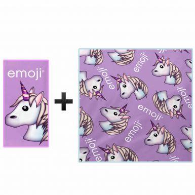 Emoji Unicorn Bath Towel & Fleece Blanket Gift Set