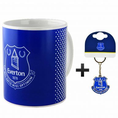Official Everton FC Crest Ceramic Mug & Keyring Gift Set
