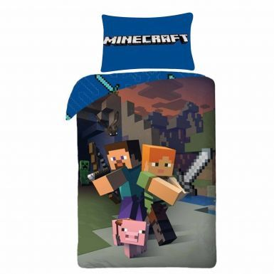 Official MINECRAFT Reversible Single Duvet Cover Bed Linen Set