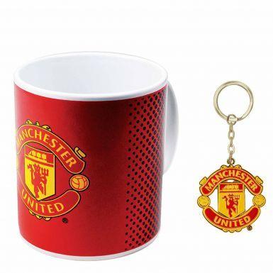 Official Manchester United Crest Ceramic Mug & Keyring Gift Set