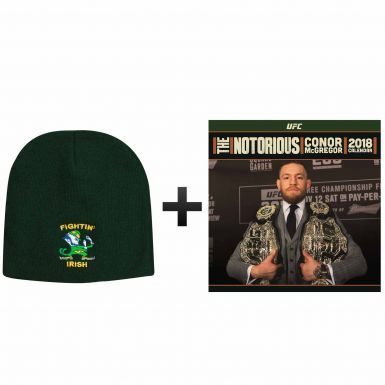 Fighting Irish Beanie Hat & Notorious Conor McGregor UFC 2018 Calendar Gift Set