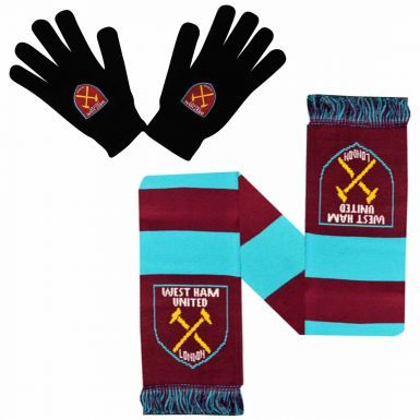 West Ham United Winter Warmers Gloves & Scarf Set