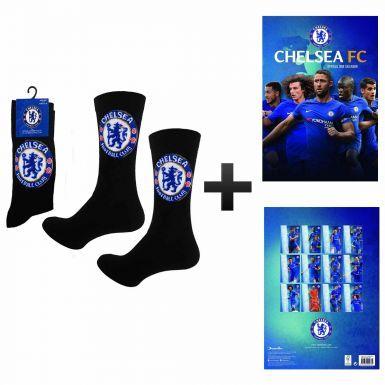 New Chelsea FC 2018 Soccer Calendar & Socks Gift Set
