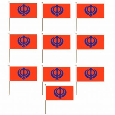 10 x Sikh Khanda Hand Waving Flags for Nagar Kirtan (Multi Pack)