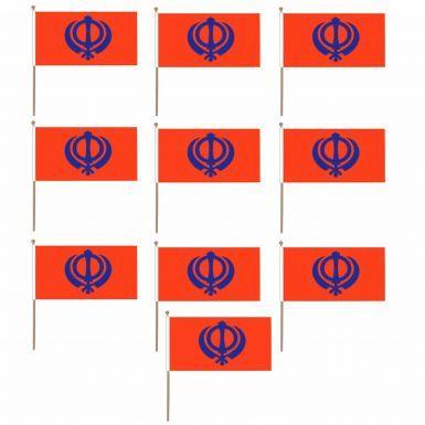 10 x Sikh Khanda Hand Waving Flags for Nagar Kirtan (Multi Pack)