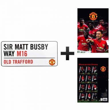 Manchester United 2018 Calendar & Street Sign Gift Set