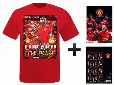 Man Utd 2018 Calendar & Romelu Lukaku T-Shirt Gift Set