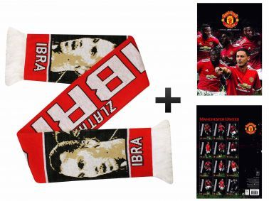 Manchester United 2018 Calendar & Ibrahimovic Scarf Gift Set