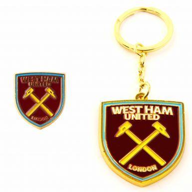 West Ham United Keyring & Pin Badge Set