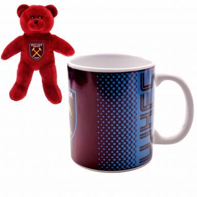 Official West Ham United Mug & Beanie Bear Gift Set