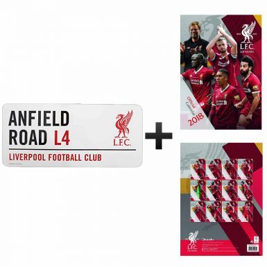 Official Liverpool FC 2018 Calendar & Street Sign Gift Set