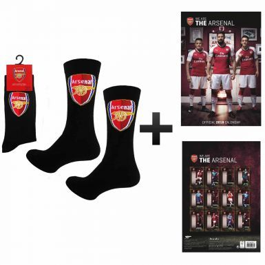 Official Arsenal FC 2018 Soccer Calendar & Socks Gift Set