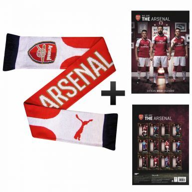 Official Arsenal FC 2018 Calendar & Puma Scarf Gift Set