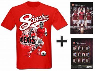Arsenal FC 2018 Soccer Calendar & Alexis Sanchez T-Shirt Gift Set