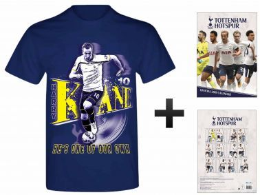 Official Tottenham Hotspur 2018 Calendar & Harry Kane T-shirt Gift Set