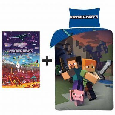 Official MINECRAFT Reversible Single Duvet Cover & Wall Poster Gift Set
