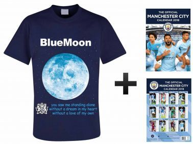 Manchester City 2018 Calendar & Blue Moon T-Shirt Gift Set