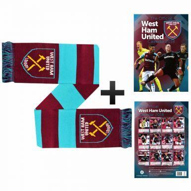 Official West Ham United 2018 Calendar & Scarf Gift Set