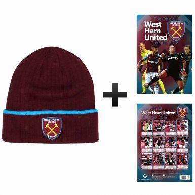 Official West Ham United 2018 Calendar & Bronx Hat Gift Set