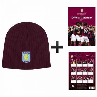 Aston Villa 2018 Football Calendar and Beanie Hat Gift Set