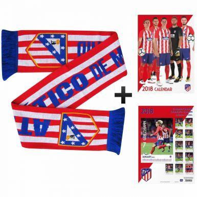 Atletico Madrid 2018 Calendar & Scarf Gift Set