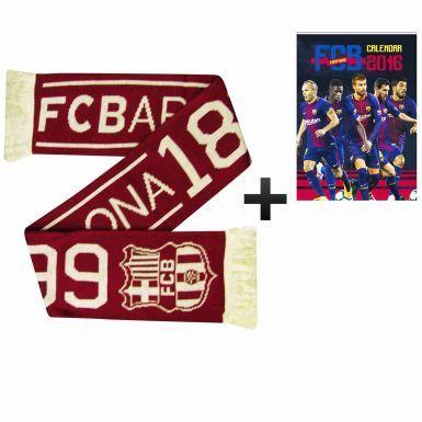 Official FC Barcelona 2018 Calendar & Scarf Soccer Gift Set