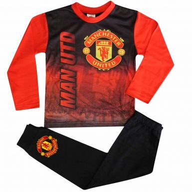 Kids Manchester United Crest Pyjamas With Full Colour Print