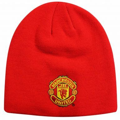 Adults Manchester United Crest Beanie Hat