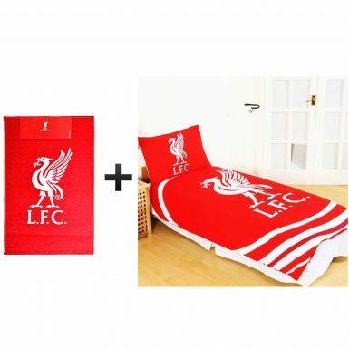 Liverpool FC Single Duvet Cover Set & Rug Bedroom Gift Set