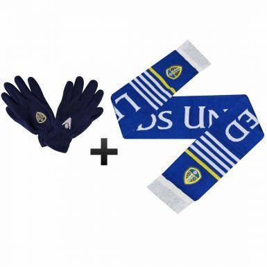 Leeds United Gloves & Scarf Winter Warmers Set