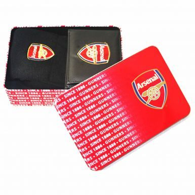 Luxury Arsenal FC Leather Wallet & Socks Gift Set in a Tin