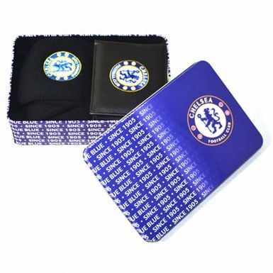 Luxury Chelsea FC Leather Wallet & Socks Gift Set in a Tin