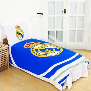 Official Real Madrid Single Duvet Cover Set With Pillowcase (Reversible)