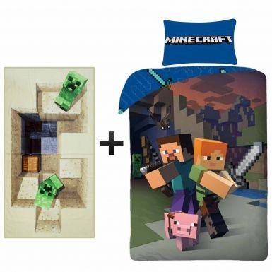 MINECRAFT Single Duvet Cover & Towel Gift Set