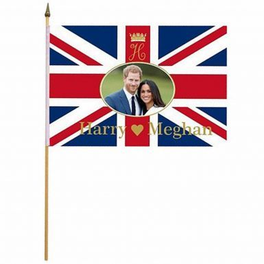 Prince Harry & Meghan Royal Wedding Hand Waving Flag