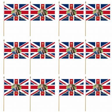 A Dozen Prince Harry & Meghan Royal Wedding Hand Waving Flags x 12