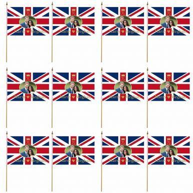 A Dozen Prince Harry & Meghan Royal Wedding Hand Waving Flags x 12