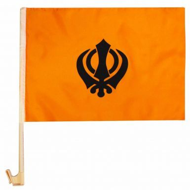 Sikh Khanda Car Flag for Nagar Kirtans or Funerals