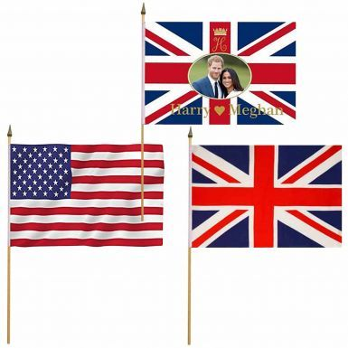 Prince Harry & Meghan, USA & Union Jack Royal Wedding Hand Waving Flag Set