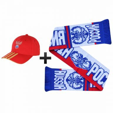 Official Russia Football Fans Scarf & Adidas Cap Gift Set