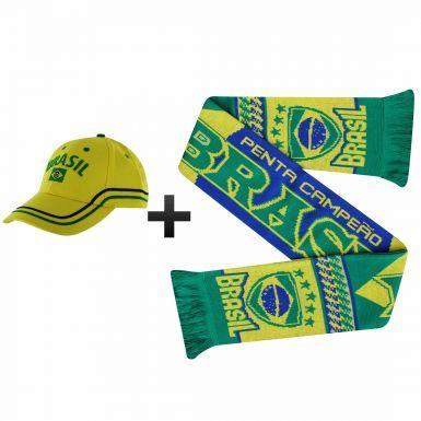 Brazil (Brasil) Football Fans Scarf & Cap Gift Set