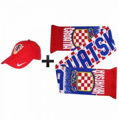 Official Croatia (Hravatska) Football Fans Scarf & Cap Gift Set
