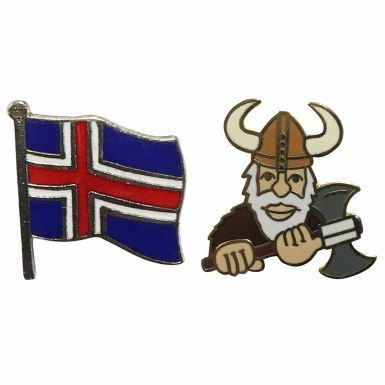 Iceland Flag & Viking Pin Badge Set