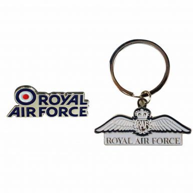 Official Royal Air Force (RAF) Wings Keyring & Ensign Badge Gift Set