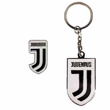 Official Serie A FC Juventus Crest Keyring & Pin Badge Set