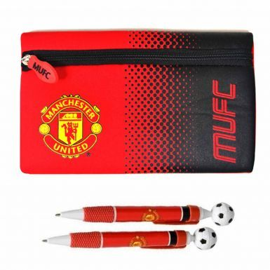 Official Manchester United Pencil Case & 2 Pen School Set