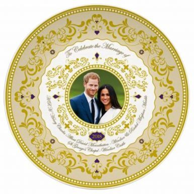 Gold Gilded Prince Harry & Meghan 2018 Royal Wedding Souvenir Plate
