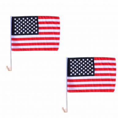 Pair of High Quality USA Stars & Stripes Car Flags (40cm x 30cm)